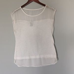 Ann Taylor White Top Mesh and Button Blouse